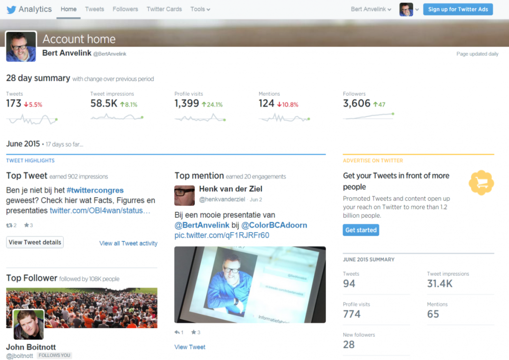 Stap 3 - Dashboard Twitter analytics